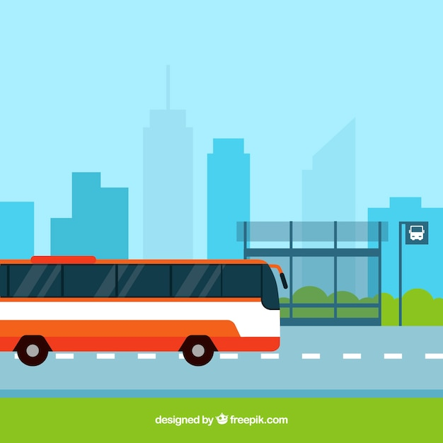Free Vector | Urban bus and bus stop with flat design