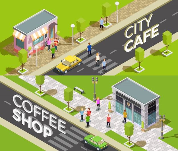 Urban cafe isometric banners Free Vector