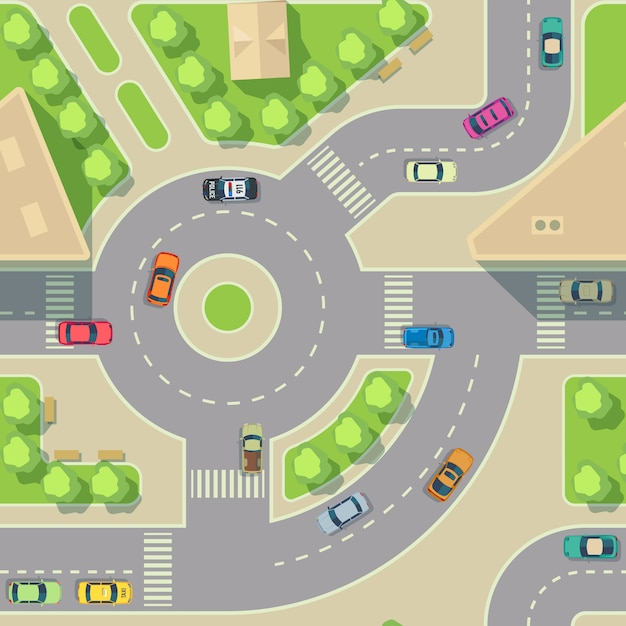Urban cars seamless texture. vector background. road intercharge with cars. transportation highway junction illustration Premium Vector
