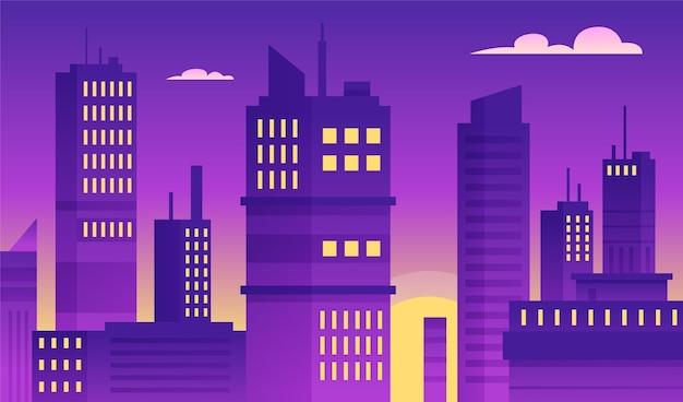 都市-ビデオ会議の背景 無料ベクター