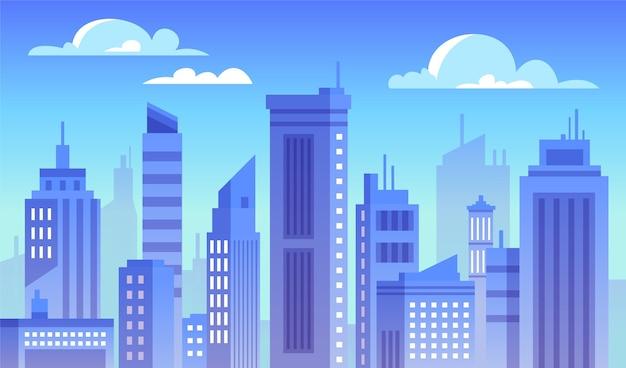 都市-ビデオ会議の背景 Premiumベクター