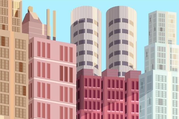 ビデオ会議のための都市の背景 無料ベクター