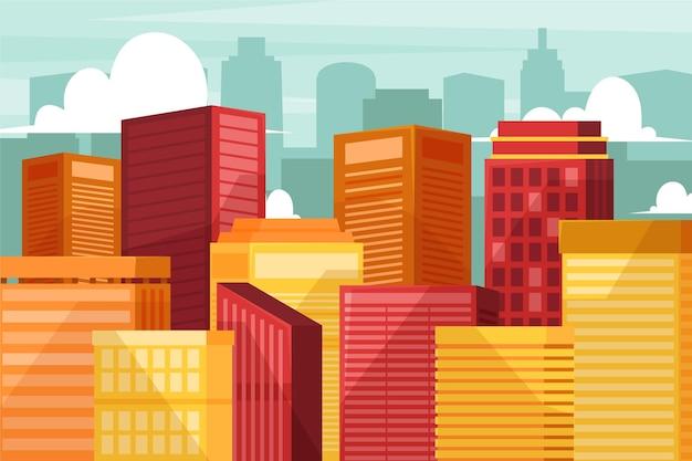 도시 도시-화상 회의의 배경 무료 벡터