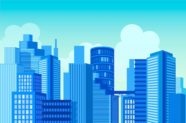 Sfondo urbano della città per videoconferenze Vettore gratuito