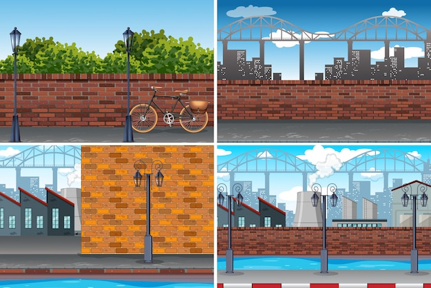 Urban city day time background Free Vector