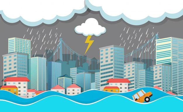 An urban city under flood Premium Vector