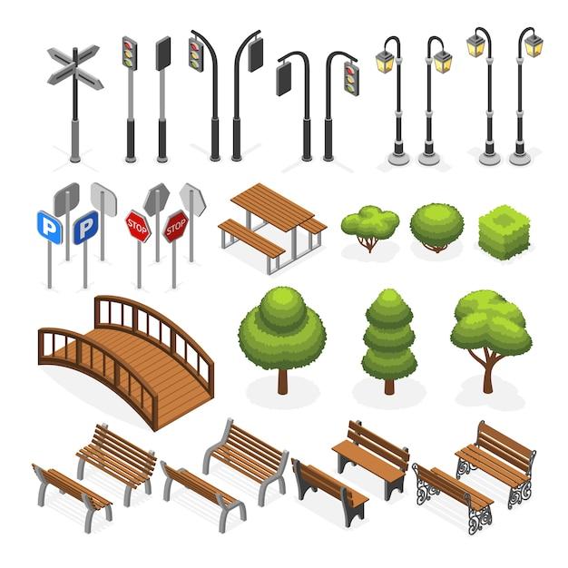 Urban city street miniature isometric vector objects Premium Vector