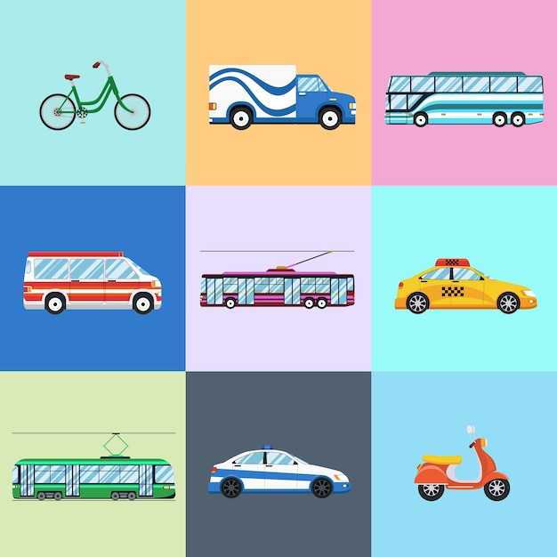 Urban city vehicles icon set. car and trolley bus, bicycle and motorbike, bus and police Free Vector
