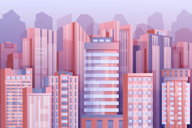 Urban city wallpaper for video conferencing Free Vector