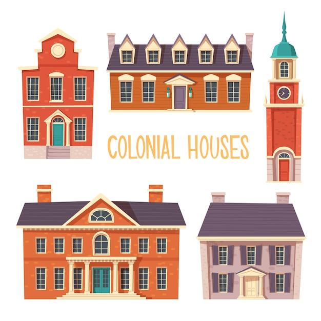 Urban colonial building collection Free Vector