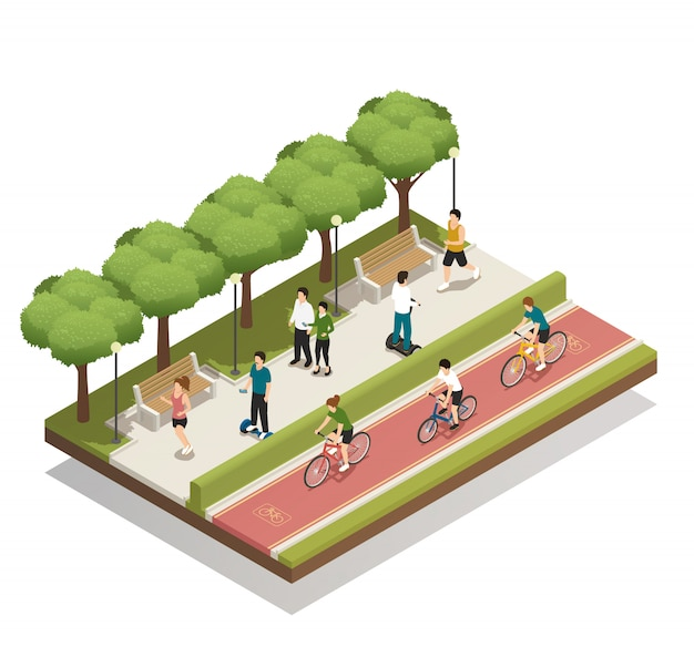 Urban composition with eco transport Free Vector