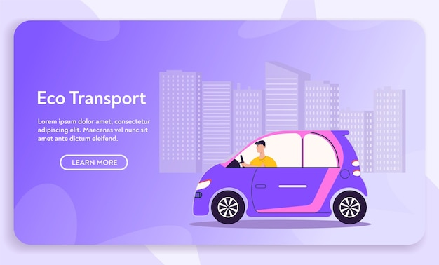 Urban eco transport. character driver driving electric car, cityscape. modern urban environment and infrastructure, green energy, eco friendly lifestyle concept Premium Vector