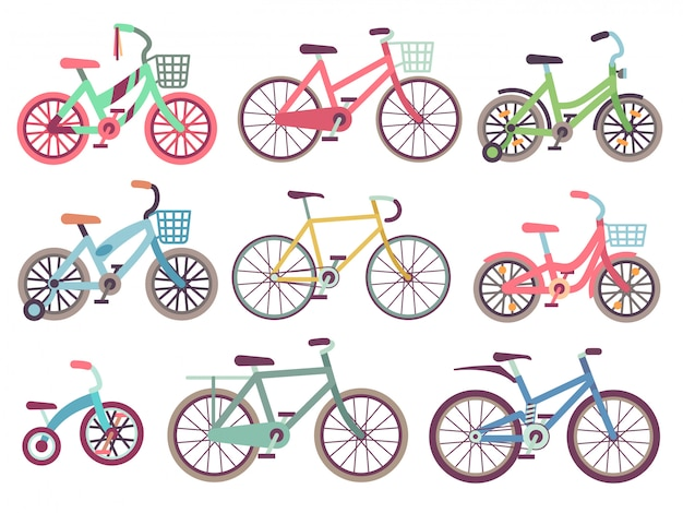 Urban family bikes flat  set. different bicycles collection Premium Vector