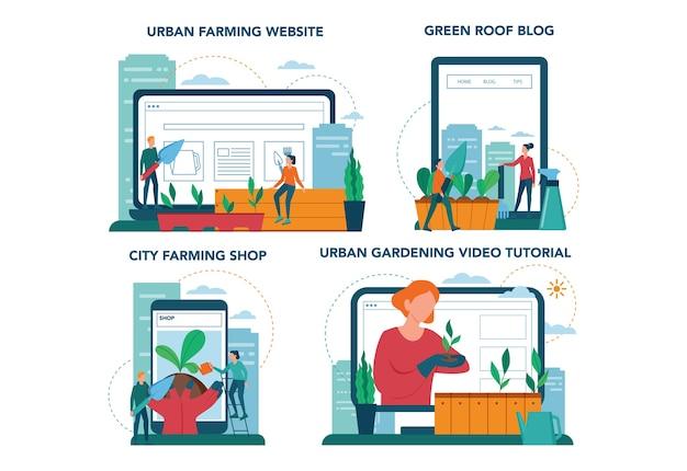 Онлайн-сервис или платформа для городского сельского хозяйства или садоводства на различных концептуальных устройствах. городское сельское хозяйство. люди сажают и поливают росток на крыше или балконе. Premium векторы