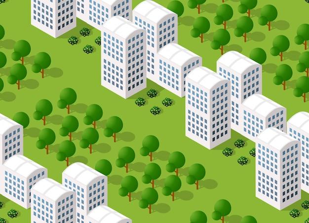 Urban isometric area Premium Vector