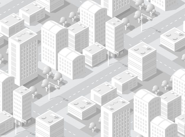 Urban isometric area Premium Vector