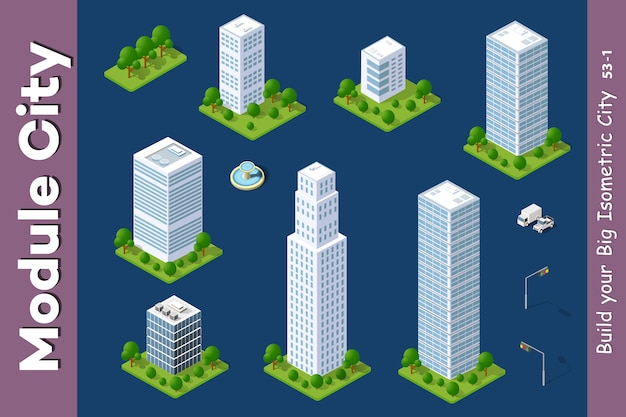 Urban isometric skyscraper Premium Vector