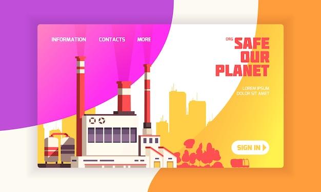 Городская целевая страница для веб-сайтов по защите окружающей среды с электростанцией и надписью «безопасное изображение нашей планеты» Бесплатные векторы