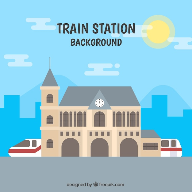 Urban landscape background with train in flat\ design