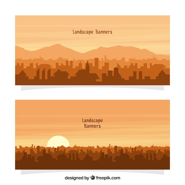 Urban landscape banners with sun