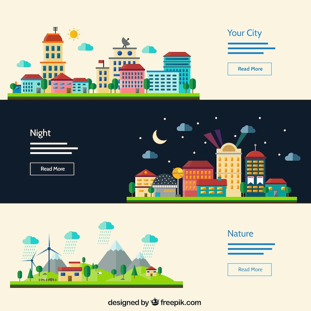 Urban landscape banners Free Vector