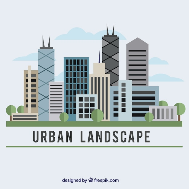 Urban landscape in flat design\ background