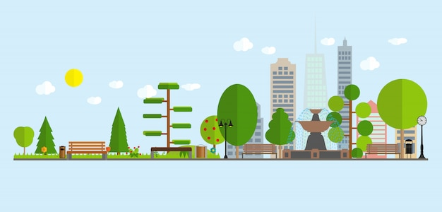 Urban landscape street skyline city office buildings and parks with trees. Premium Vector