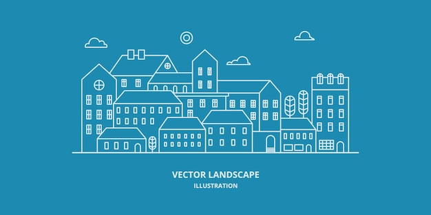 Urban landscape with building, house, and tree. cityscape . thin line style illustration. Premium Vector