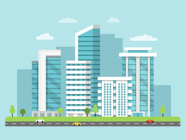 Urban landscape with modern buildings Premium Vector