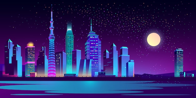 Urban landscape with neon skyscrapers Free Vector