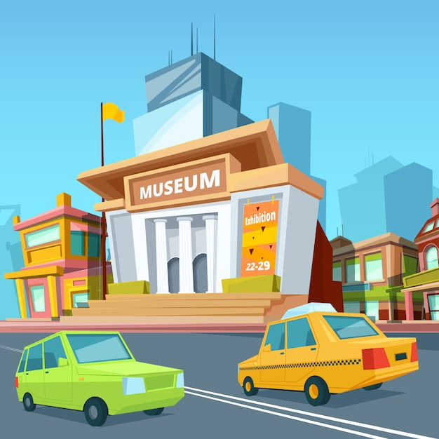 Urban landscape with various buildings and facade of historical museum Premium Vector