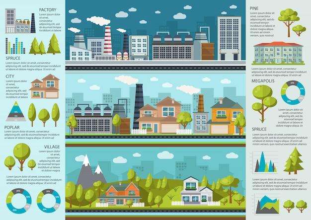 Городская жизнь инфографика Бесплатные векторы