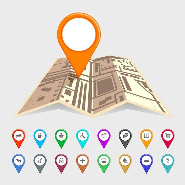 Городская карта с набором значков указателя Premium векторы