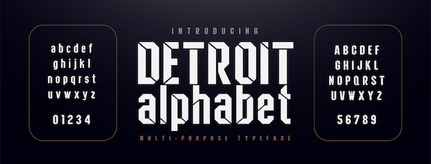 Городской современный алфавит шрифт. типография сжатая Premium векторы