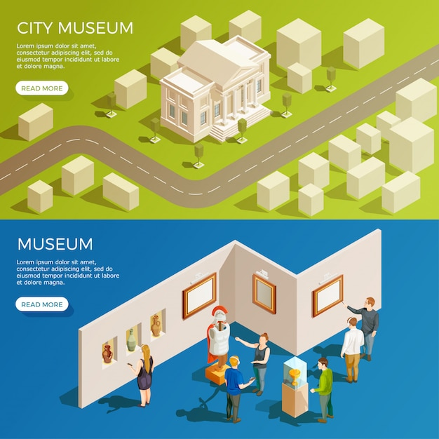 Urban museum banners set Free Vector