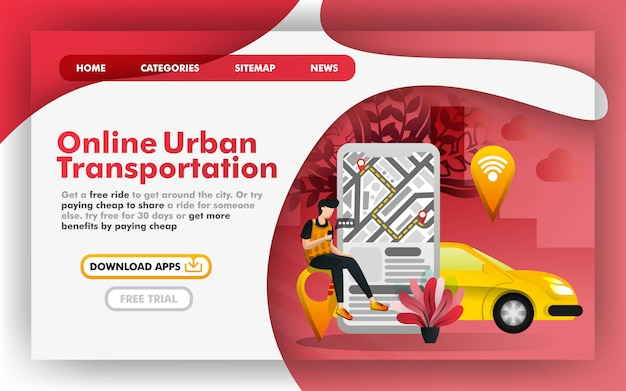 Urban online transportation web page Premium Vector