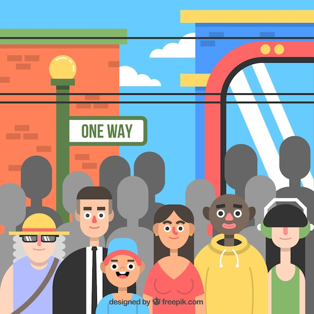 Urban people in flat design Vector | Free Download