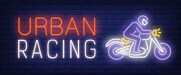 Urban racing neon text with biker riding motorcycle Free Vector