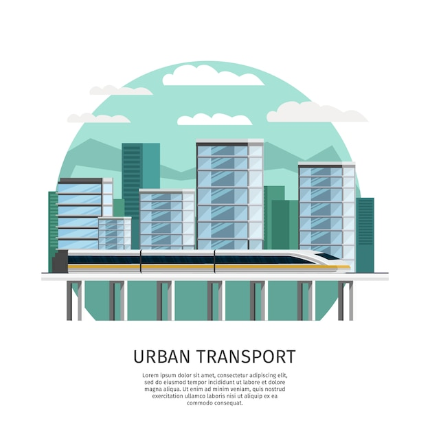 Progettazione ortogonale di trasporto ferroviario urbano Vettore gratuito