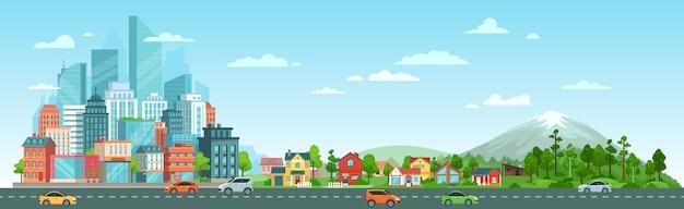 車の風景と都市道路 無料ベクター
