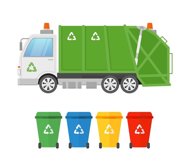 都市の衛生車両のごみローダートラックとさまざまな種類のごみのコンテナー。廃棄物の収集と輸送。緑のごみ収集車、フラットスタイルのエココンセプト。 Premiumベクター