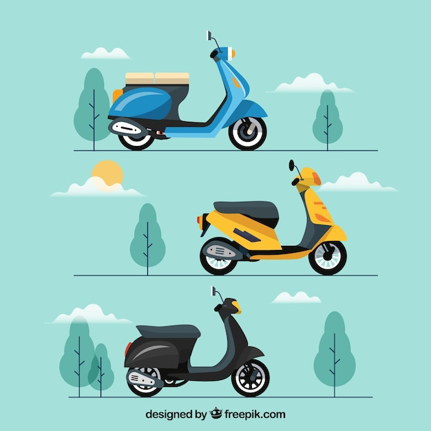 Urban scooters with modern style Free Vector