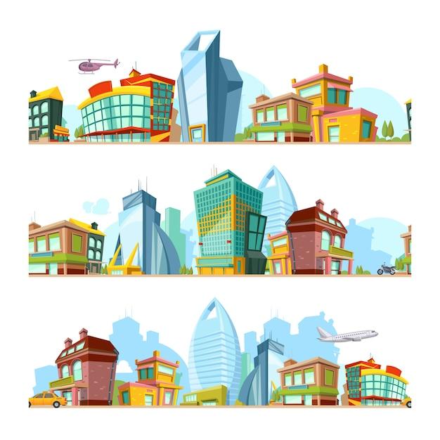 都市のシームレスな風景。モダンな建物の街の背景2dゲームデザインの街並みパノラマタウンパターン Premiumベクター