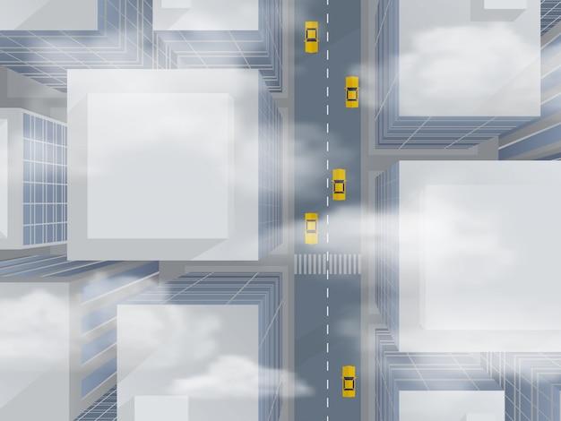 Urban skyscrapers through the smog Premium Vector