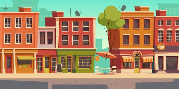 Urban street illustration with small shop and restaurant Free Vector