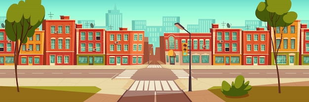 都市通りの風景、交差点、信号 無料ベクター