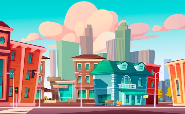Urban street landscape with cafe, beauty salon Free Vector