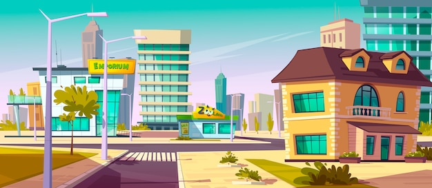 Urban street landscape with crossroads, sidewalk Free Vector