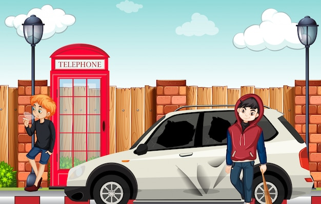 Urban street teenager in town Premium Vector