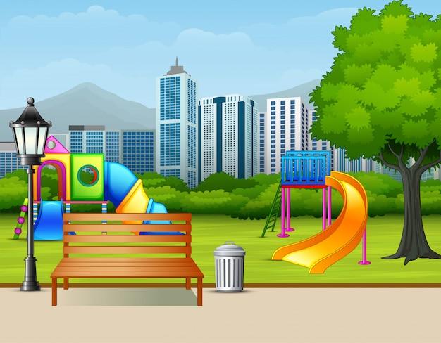Urban summer public garden with kids playground Premium Vector